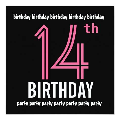 14th Birthday Party Invitation Template Pink Black