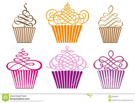 Set Of Cupcakes, Vector Stock Image   Image: 26458891