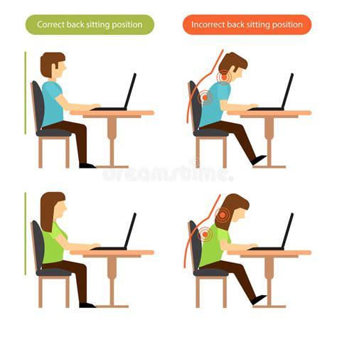 posizione seduta corretta posizione seduta posteriore corretta e sbagliata nel luogo