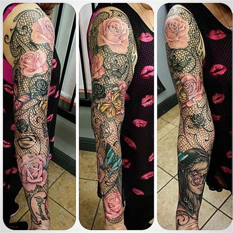 lace butterfly  roses full sleeve tattoo tattoos