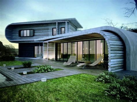 Unique House Architecture Design With Wooden Material In