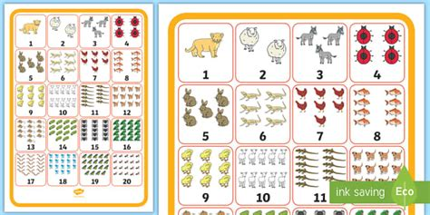 Numbers 1-20 With Animals Display Poster