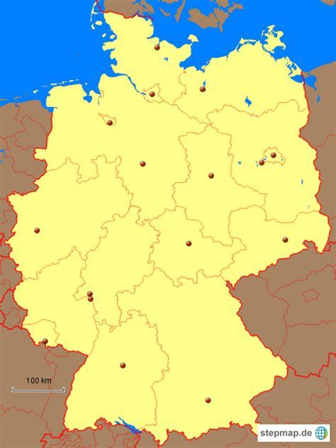 stepmap bundeslaender mit hauptstaedten landkarte fuer