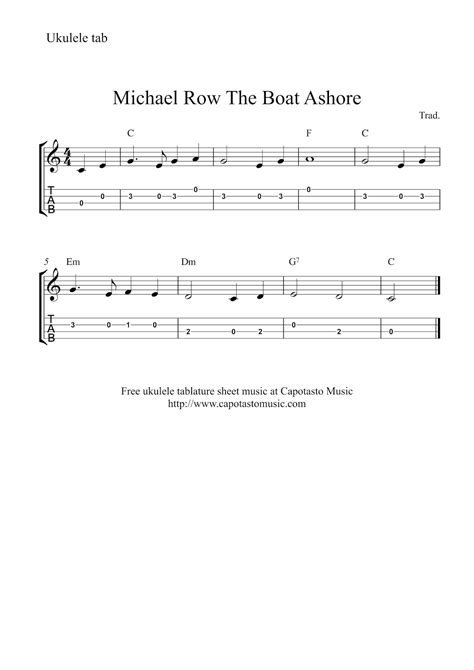 Row The Boat Ashore Piano by Michael Row The Boat Ashore Free Easy Ukulele Tab Sheet