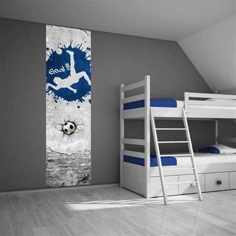 muursticker paneel voetbal blauw voetbalkamer idee