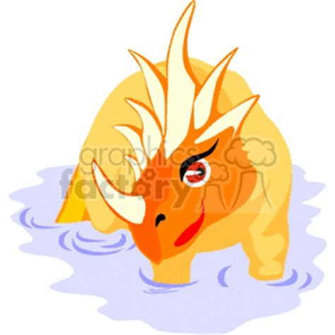 royalty  cartoon orange triceratops clipart images