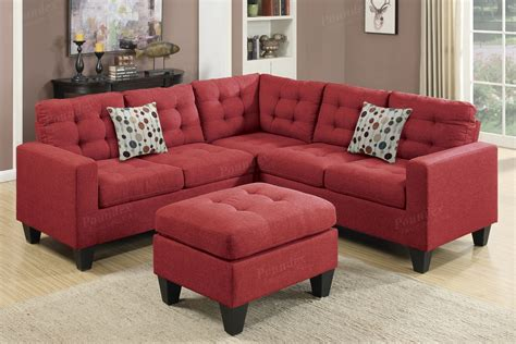 Red Fabric Sectional Sofa And Ottoman
