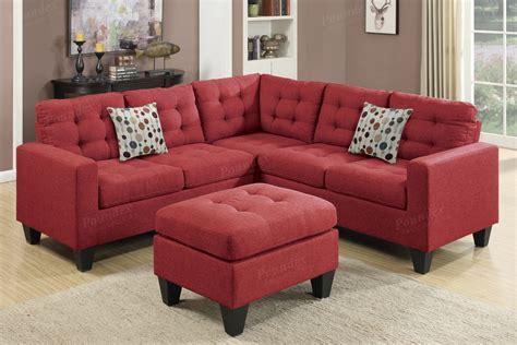 Red Fabric Sectional Sofa And Ottoman Stealasofa