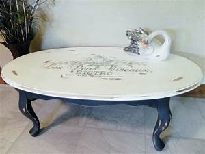 sold custom made to order french chic stencil topography With distressed oval coffee table