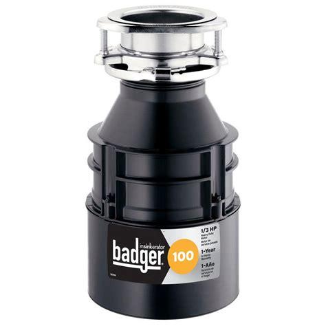 garbage disposal insinkerator badger 100 1 3 hp continuous feed garbage