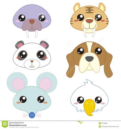 cute cartoon animal head stock photography image