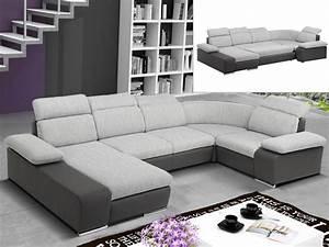 Canapé D Angle Panoramique Alia Xxl : canap d 39 angle convertible en tissu et simili cyrano ~ Teatrodelosmanantiales.com Idées de Décoration