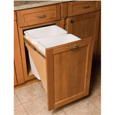 double trash can cabinet pull out built in trash cans cabinet slide out under