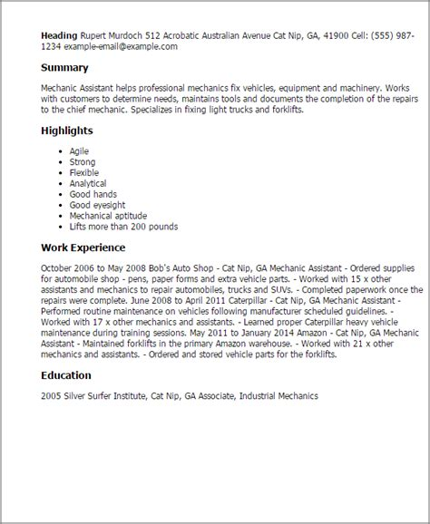 Assistant Automotive Mechanic Resume professional mechanic assistant templates to showcase your talent myperfectresume
