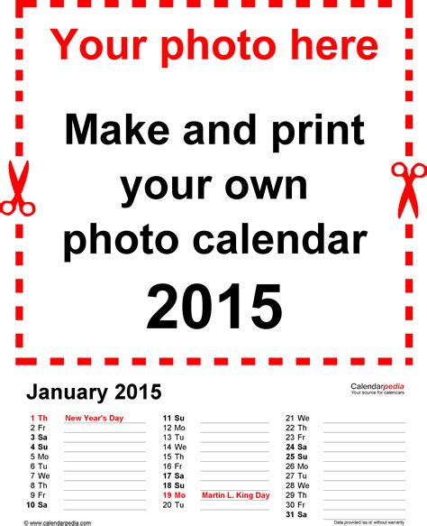 photo calendar   printable word templates