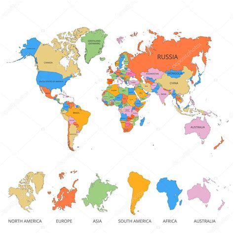 Världen karta med namnet på länder och kontinenter. Vektor ...