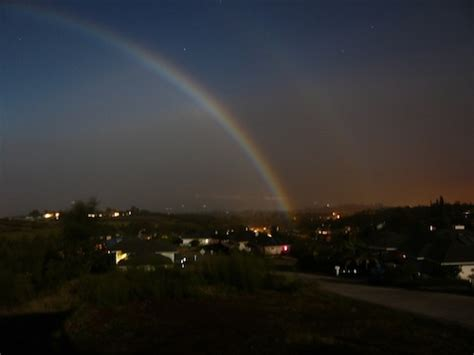 extremely rare images  moonbows rainbows   night
