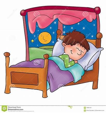 Bambino Che Dorme Letto Window Stelle Finestra