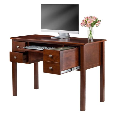 brown desk with drawers amazon com winsome emmett writing desk with pull out
