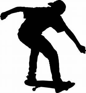 Clipart - Boy On Skateboard Silhouette
