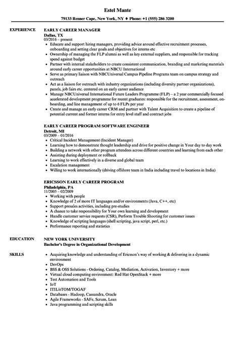 Resume Career by Early Career Resume Bijeefopijburg Nl