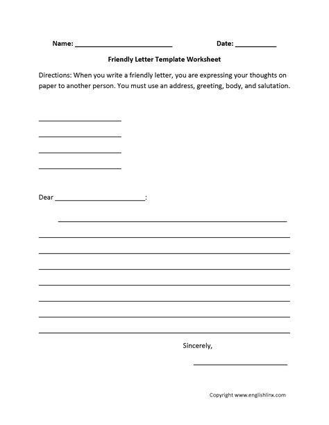 letter writing worksheets  images informal letter