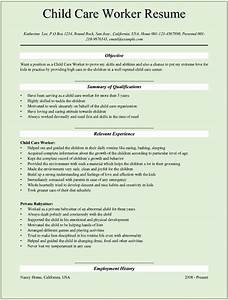 Sample child care worker resumes for microsoft word doc for Child care worker resume