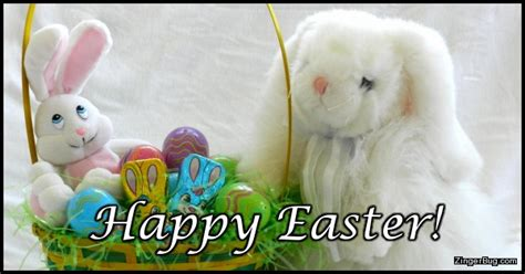Happy Easter Memes - happy easter stuffed bunnies with easter basket glitter graphic greeting comment meme or gif