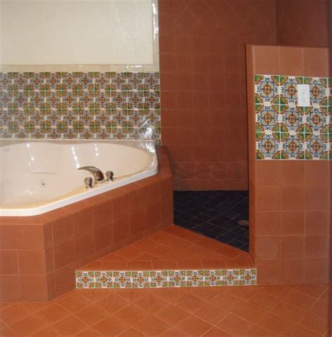 Terracotta And Gerona Mexican Tile By The Bathtub, Mexican