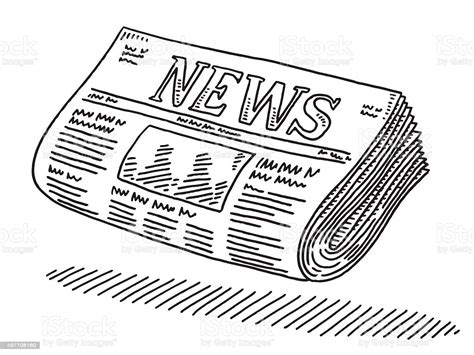 Newspaper Drawing Stock Vector Art And More Images Of 2015