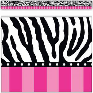 Zebra and Hot Pink Stripes Straight Border Trim - TCR5505 ...