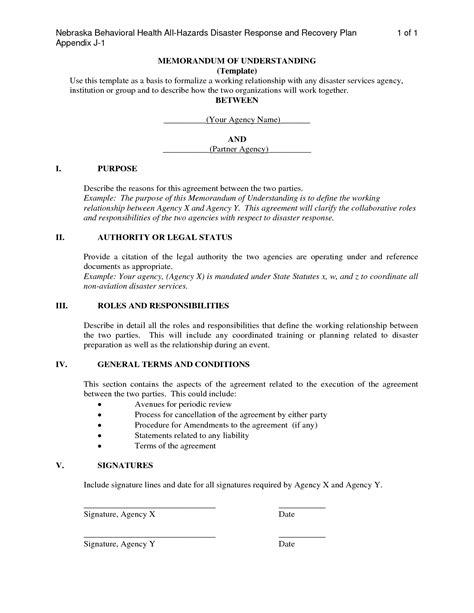 Free Sle Memorandum Of Understanding Template by Memorandum Of Understanding Business Partnership Template