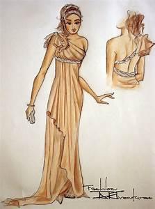 Silk Dress in Tan Greek Style: Advanced Fashion Drawing ...