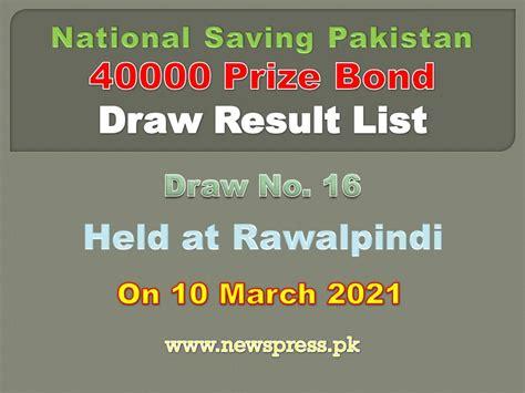 Rs. 40000 Premium Prize Bond Draw Result List Rawalpindi ...