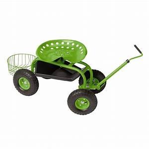 Tractor scoot rolling garden seat gardener39s supply for Garden scooter seat