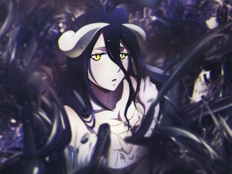 desktop wallpaper albedo overlord anime girl dark hd image picture background affbf