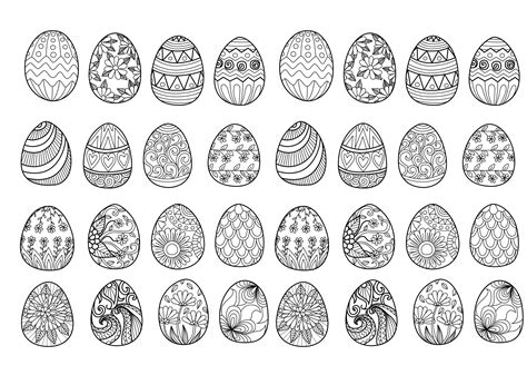 easter eggs complex easter adult coloring pages