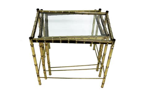 faux bamboo table l faux bamboo brass nesting tables set omero home