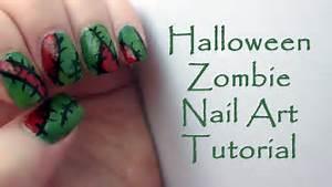 Zombie halloween nail art tutorial easy nails