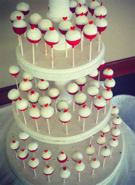 bobber heart cake pops   fishing themed wedding