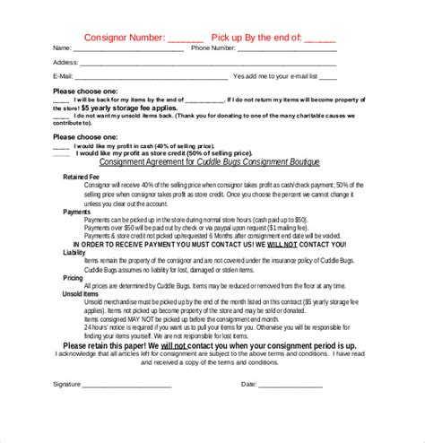 consignment agreement templates word  pages