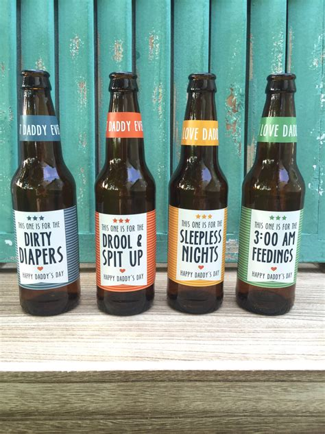 First Time Dad Beer Bottle Labels Gift For Daddy By