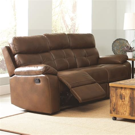 Leather Sofas With Recliners by Damiano Faux Leather Reclining Sofa From Coaster 601691