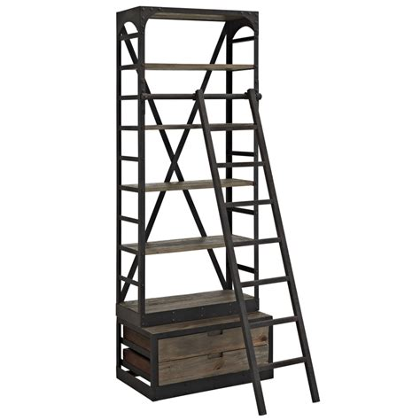 Reclaimed Wood Shelving Unit With Ladder Modern