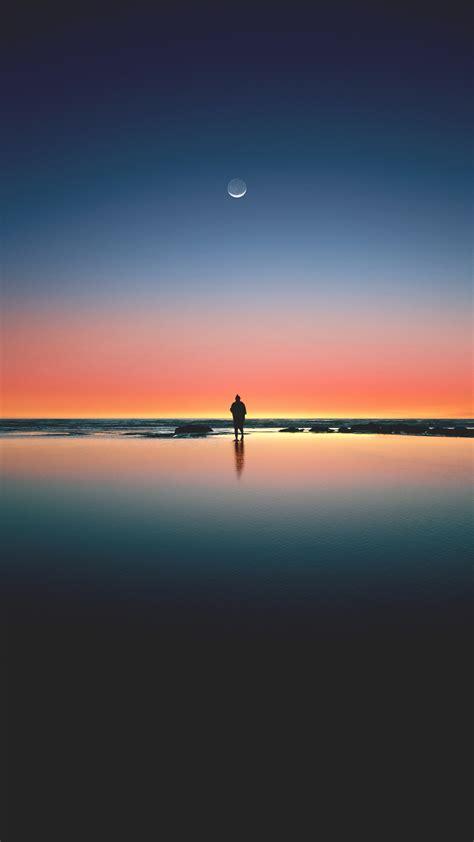 wallpaper sunset  beach sea horizon moon silhouette  photography