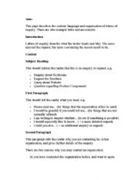 english worksheets letter  enquiry