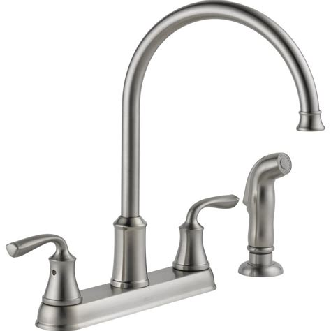 lowes delta kitchen faucets shop delta lorain stainless 2 handle high arc kitchen faucet with side spray at lowes com