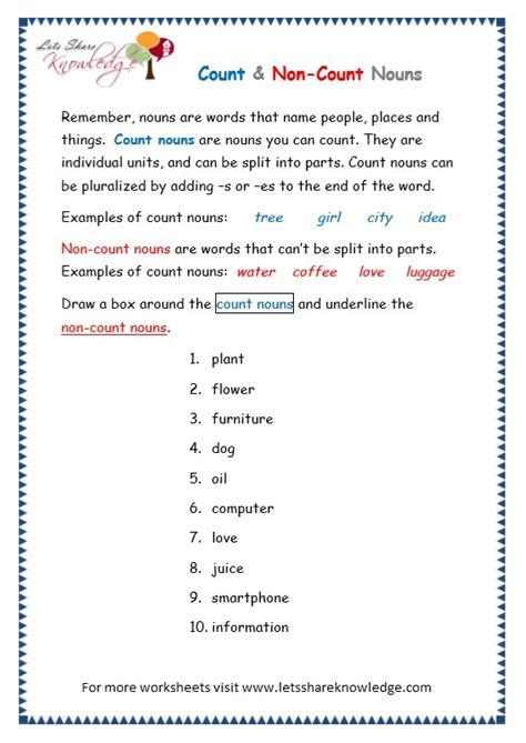 all worksheets 187 count and mass nouns worksheets grade 3