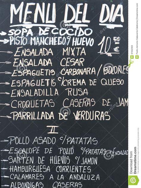 cuisine espagnole menu quotidien photos stock image 37552303
