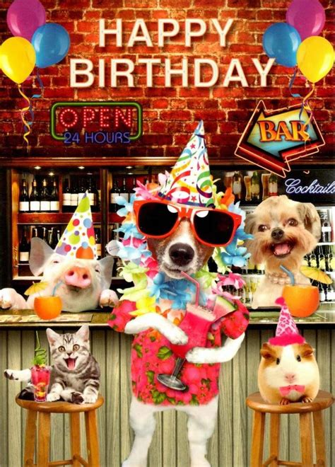 Cocktail Party Happy Birthday Greeting Card  Cards Love